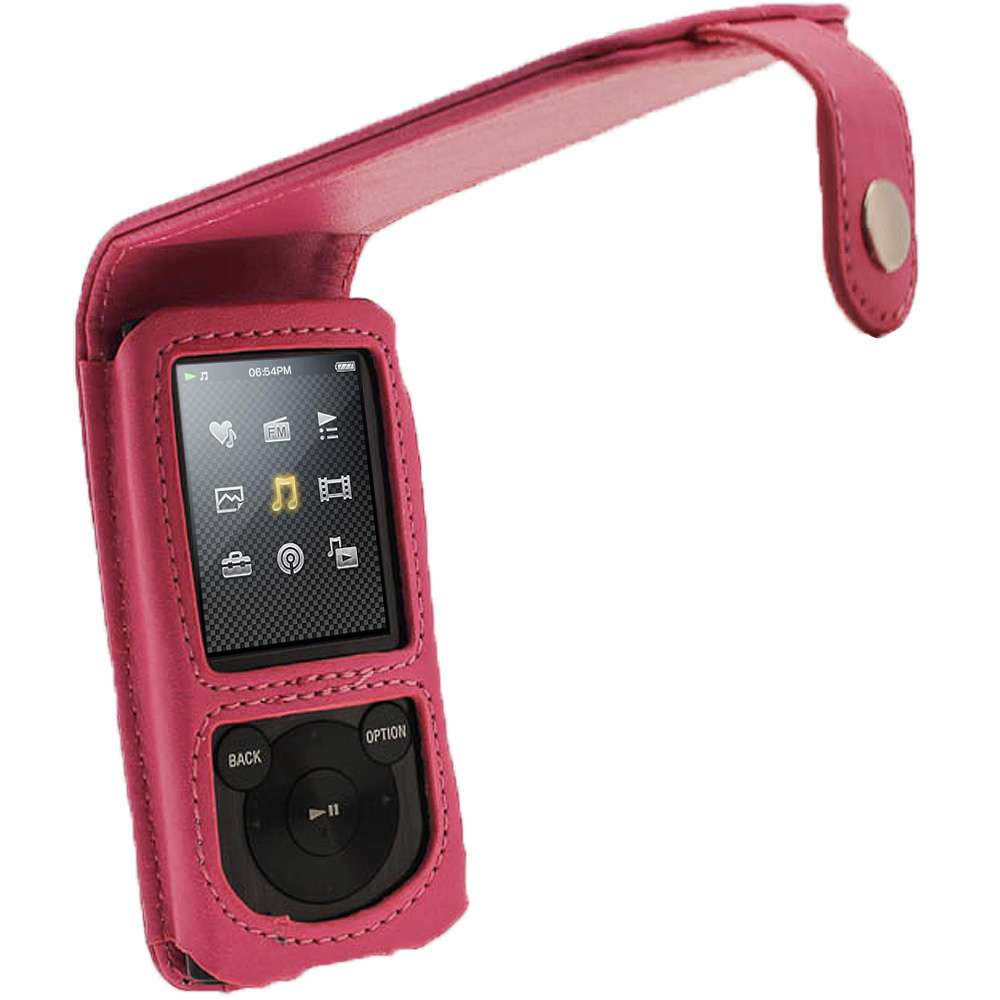 iGadgitz Pink PU Leather Case Cover for Sony Walkman NWZ-E450 Series & E460 Series + Screen Protector