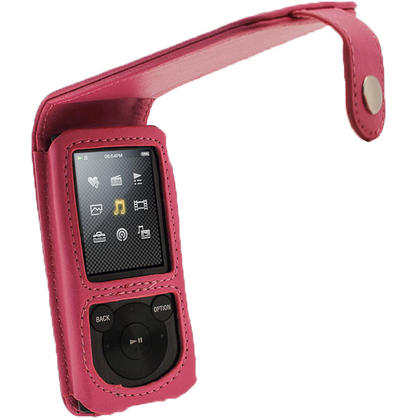 iGadgitz Pink PU Leather Case Cover for Sony Walkman NWZ-E450 Series & E460 Series + Screen Protector Thumbnail 1
