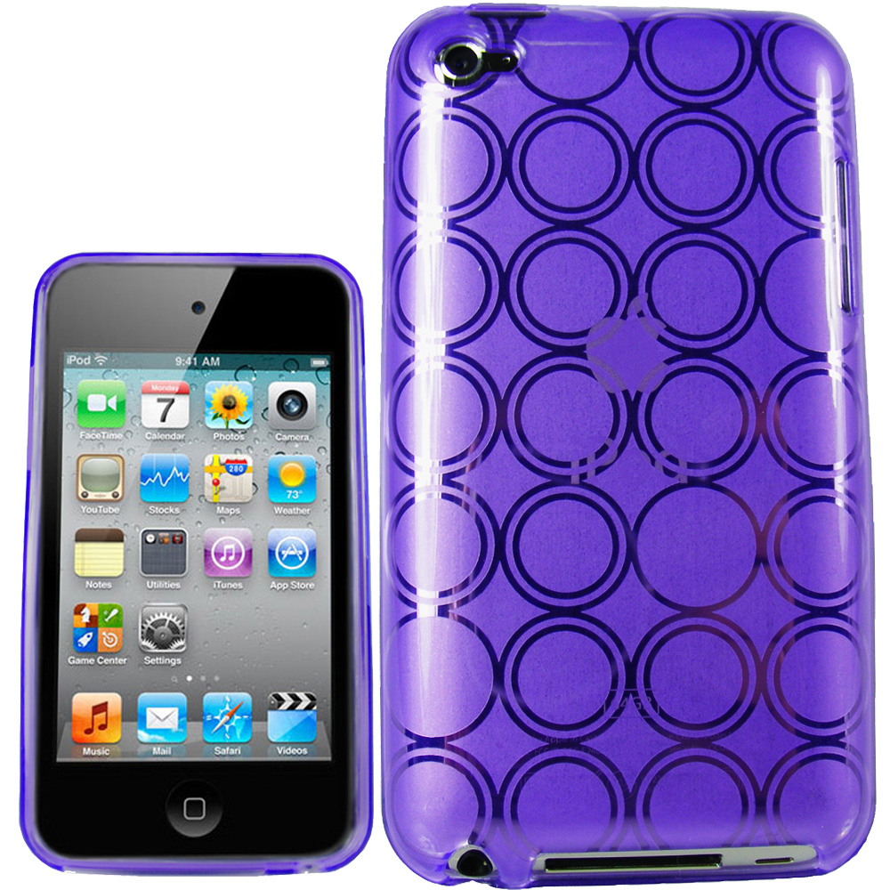 iGadgitz Circle Purple Gel Case TPU for Apple iPod Touch 4th Generation 8gb, 32gb, 64gb + Screen Protector