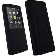 iGadgitz Black Silicone Skin Case Cover for Sony Walkman NWZ-E450 Series + Screen Protector