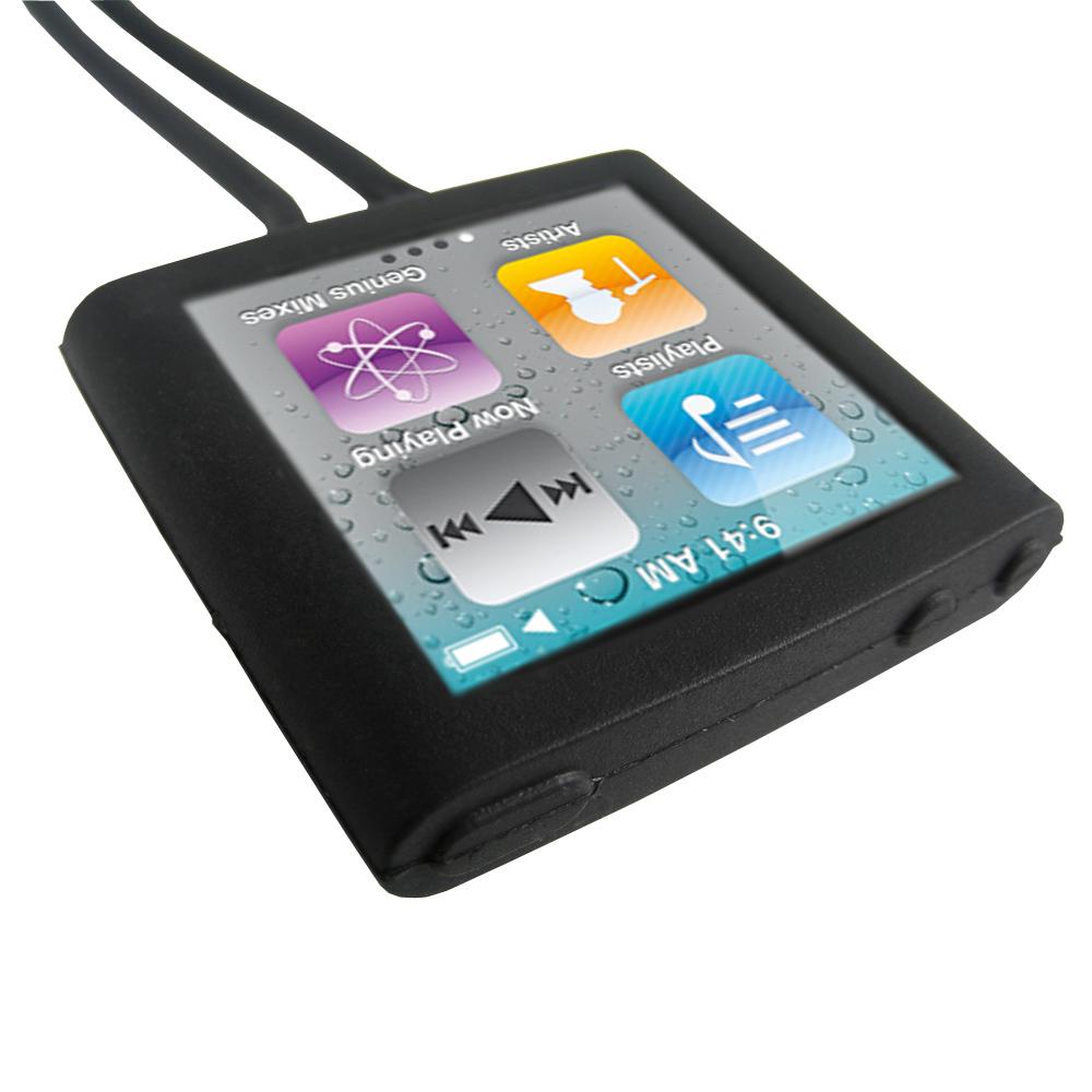 black skin case necklace for apple ipod nano 6th gen 6g