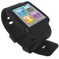 iGadgitz Black Silicone Skin Case Cover Watch Strap for Apple iPod Nano 6th Generation 8gb, 16gb + Screen Protector