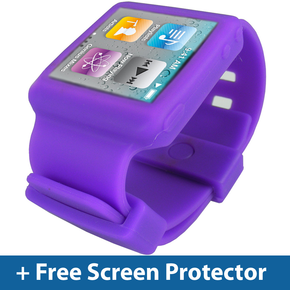 Purple Silicone Skin Watch for Apple iPod Nano 6th Gen Generation 6G Case Holder Enlarged Preview