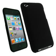 iGadgitz Black Rubber Coated Hard Case Cover for Apple iPod Touch 4th Generation 4G 8gb, 32gb, 64gb + Screen Protector