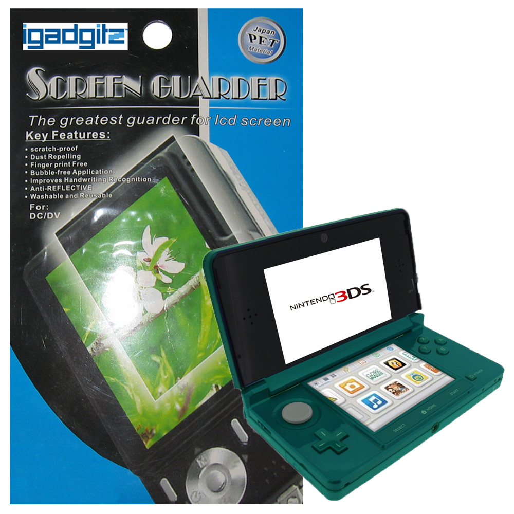 iGadgitz Pack of 2 sets of 2 Stick-on Anti-Reflective and Scratch Resistant Screen Protectors for Nintendo 3DS 2011