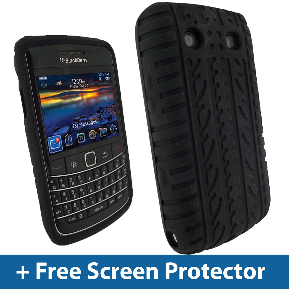 Black Tyre Skin Case for BlackBerry Bold 9700 9780 Silicone Cover Holder  Enlarged Preview