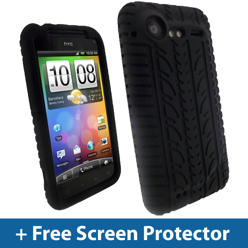 Black Tyre Skin Case for HTC Incredible S Android Mobile Silicone Cover Holder Enlarged Preview