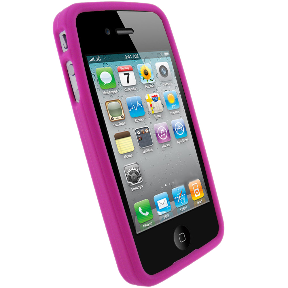Rose silicone etui housse pour apple iphone 4 hd 4g 16gb for Etui housse iphone 4