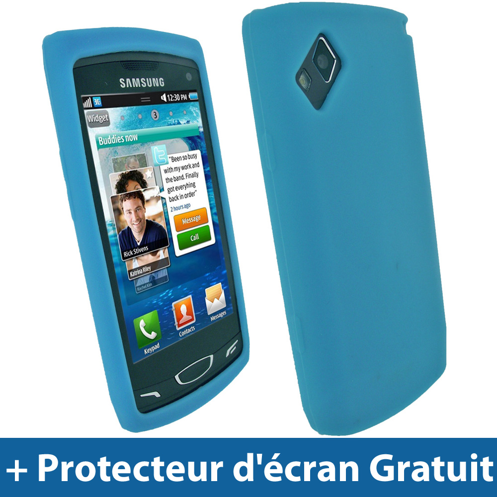 Bleu Silicone Etui pour Samsung Wave 2 S8530 Android Portable Housse