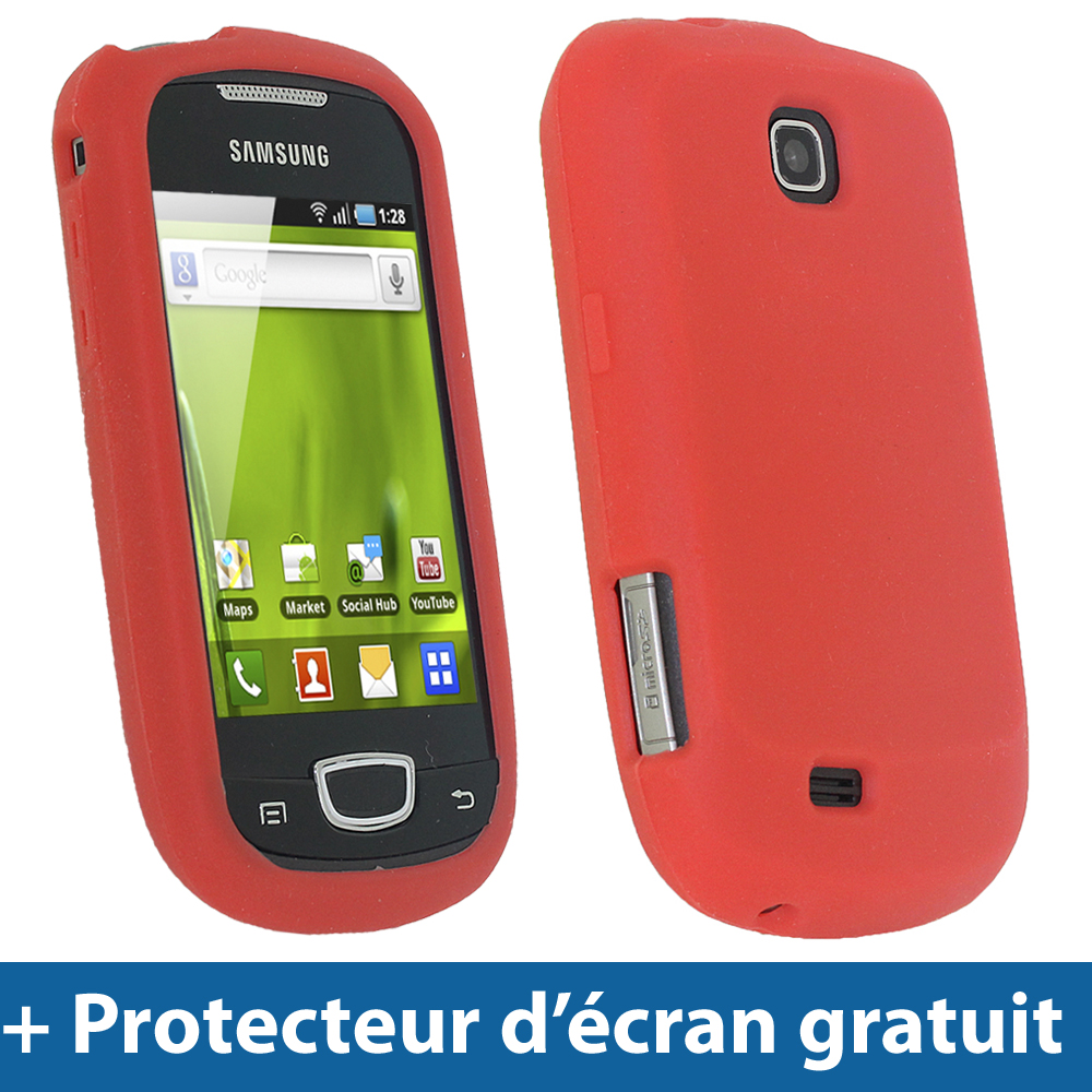 Rouge Silicone Etui pour Samsung Galaxy Mini S5570 Android Housse Coque Case Enlarged Preview