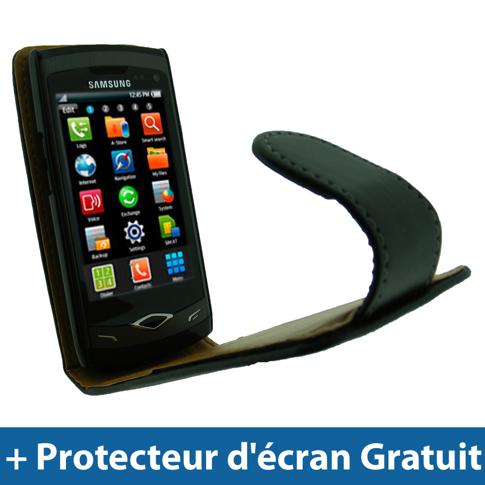 Noir Housse Cuir PU pour Samsung Wave S8500 Android Smartphone Etui Coque Case Enlarged Preview