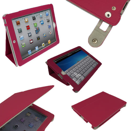 View Item iGadgitz 'Portfolio' Pink PU Leather Case Cover for Apple iPad 2, 3 & New iPad 4 with Retina Display 16GB 32GB 64GB. With Unique Lens Protection System and Smart Cover Sleep Function + Screen Protector