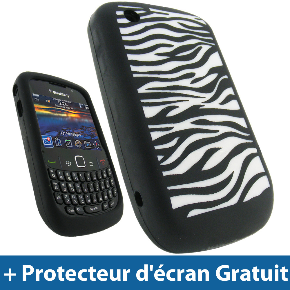Noir silicone etui pour blackberry curve 8520 9300 3g for Housse blackberry curve 9300