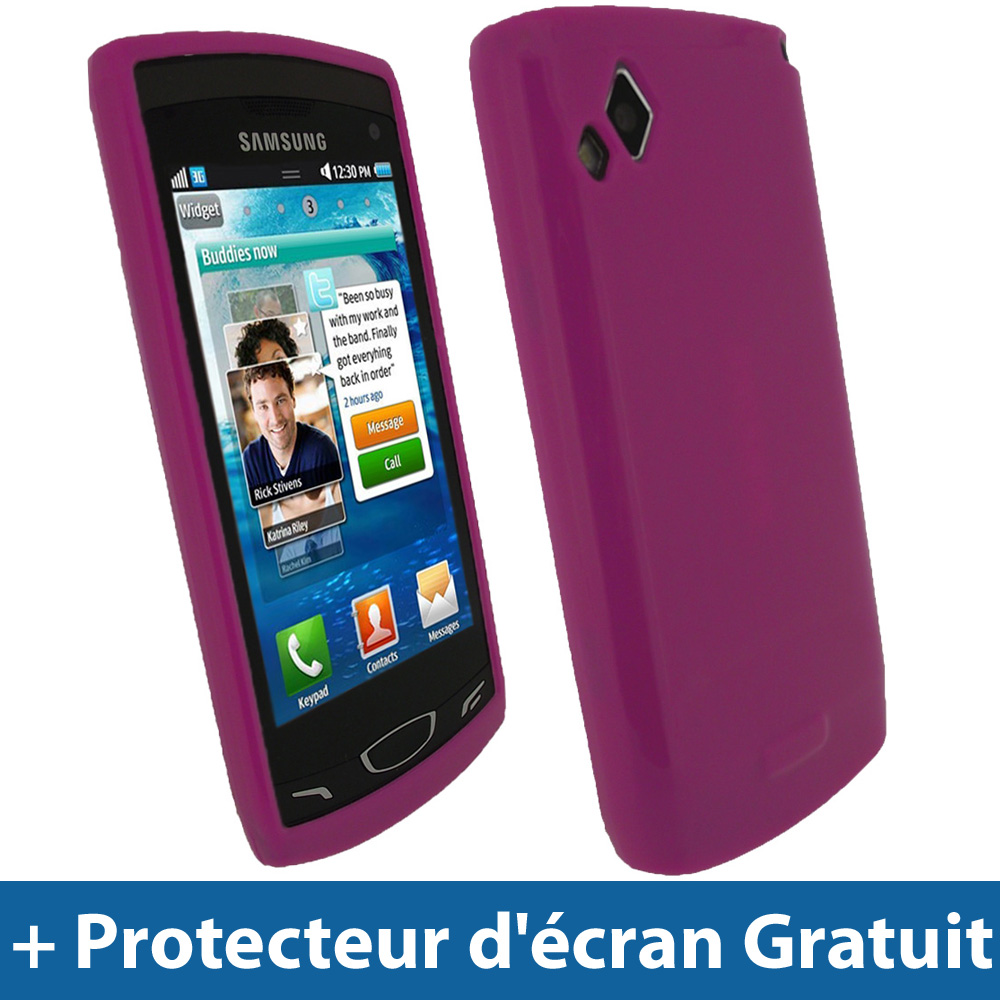 Rose housse gel tpu pour samsung wave 2 s8530 android for Housse samsung wave