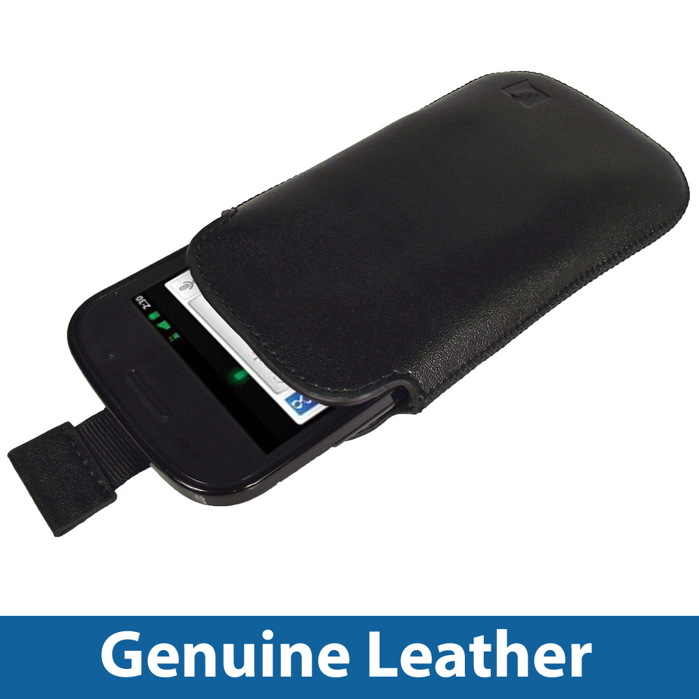 Black Genuine Leather Pouch Case for Google Nexus S Smartphone Cover Holder Enlarged Preview