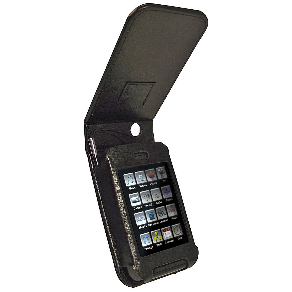 iGadgitz Black PU Leather Case Cover for Kubik Edge II 8GB MP3 Player