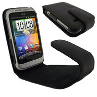 View Item iGadgitz Black Genuine Leather Case Cover Holder for HTC Wildfire S Android Smartphone Mobile Phone + Screen Protector