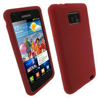 View Item iGadgitz Red Silicone Skin Case Cover for Samsung i9100 Galaxy S2 Android Smartphone Mobile Phone + Screen Protector