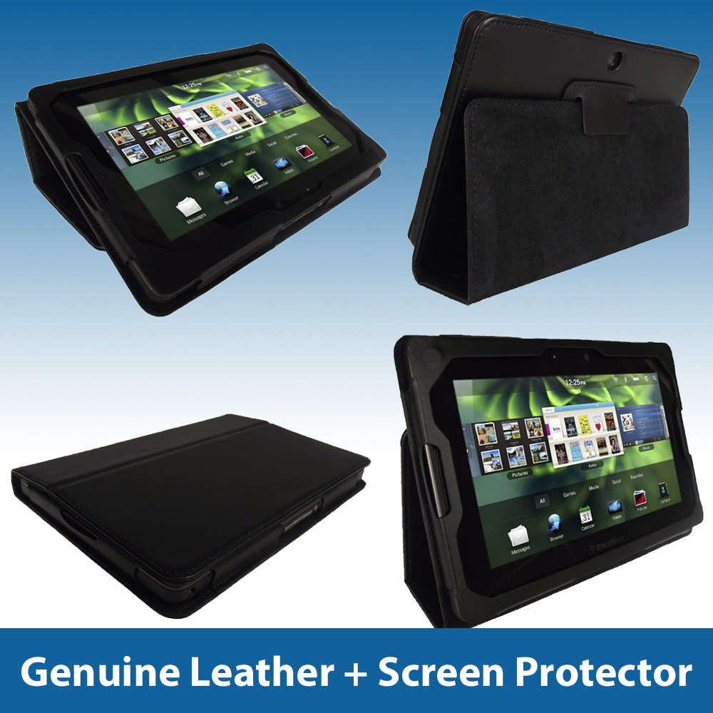 Black Leather Case Cover Holder for Blackberry Playbook 7 Inch Internet Tablet Enlarged Preview