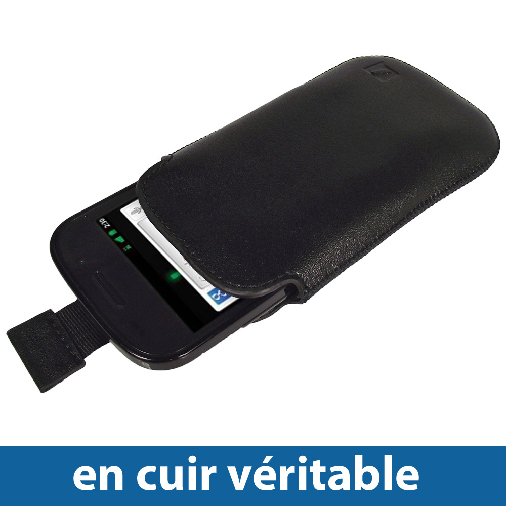 Noir Poche Cuir Véritable pour Google Nexus S Android Etui Housse Case Enlarged Preview