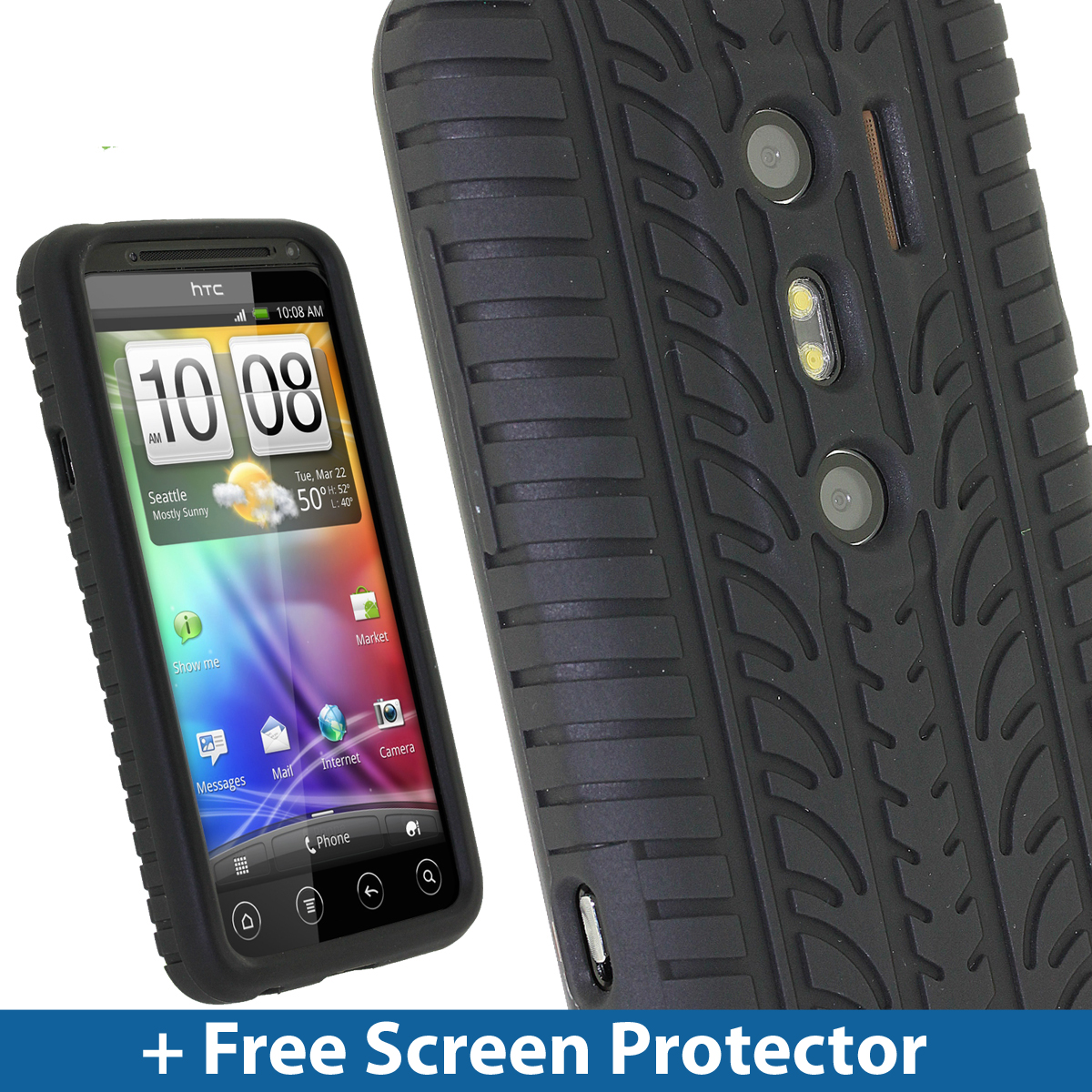 Black Silicone Tyre Skin Case Cover for HTC Evo 3D Android Smartphone Mobile Enlarged Preview