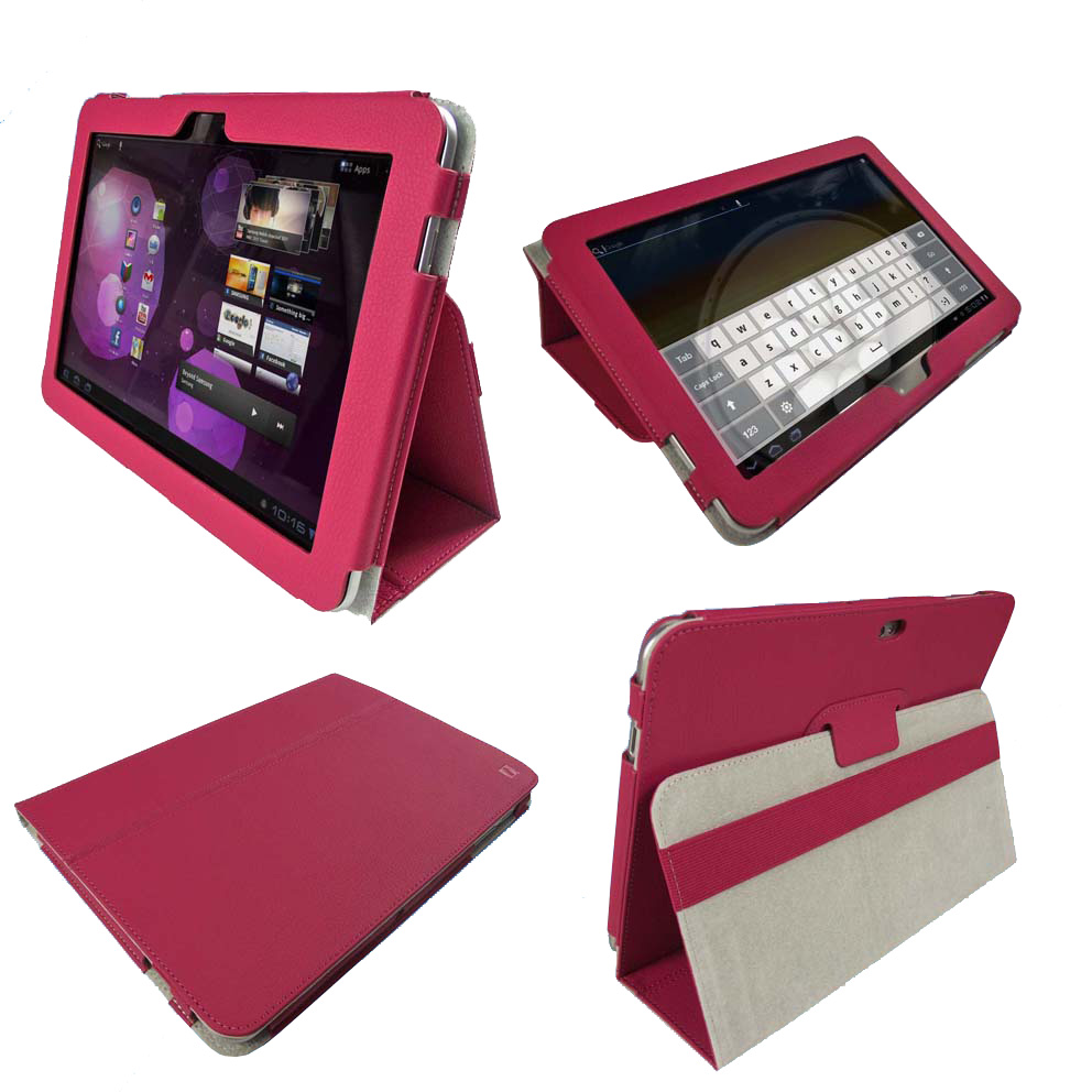 Pink PU Leather Case Cover for Samsung Galaxy Tab 10.1 3G & WiFi P7510 Android Enlarged Preview