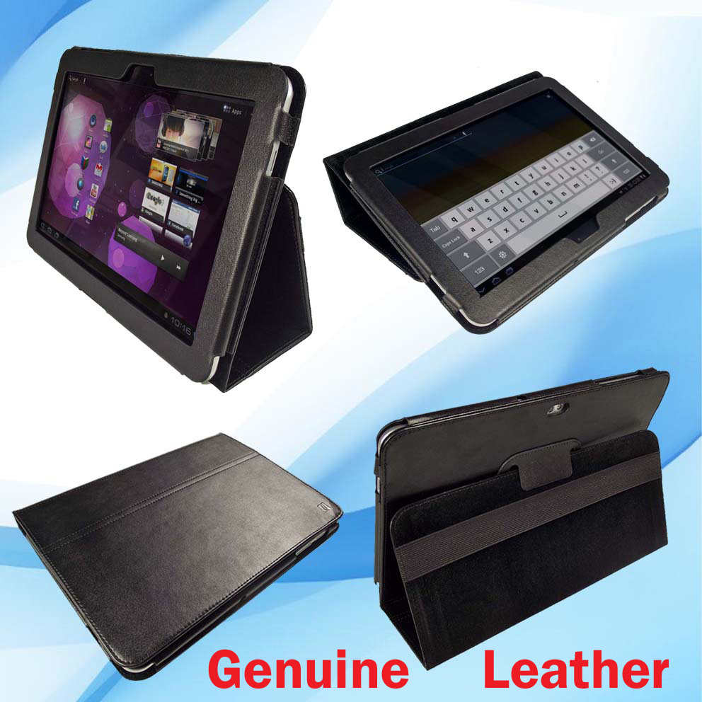 Black Leather Case for Samsung Galaxy Tab P7510 10.1 3G WiFi Android 3.1 Cover Enlarged Preview