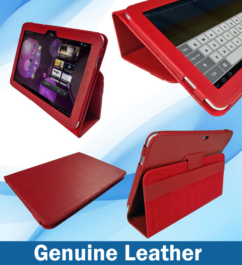 Leather Case for Samsung Galaxy Tab P7510 10.1 Android 3.1 3G & WiFi Red Cover Enlarged Preview