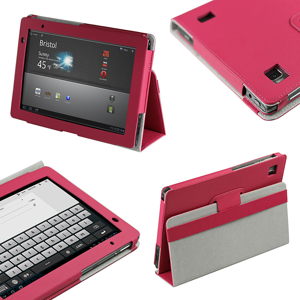 Pink PU Leather Case Cover for Acer Iconia Tab A500 A501 10.1 Android Tablet Enlarged Preview