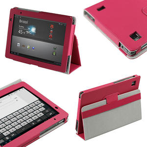iGadgitz Pink 'Portfolio' PU Leather Case Cover for Acer Iconia Tab A500 A501 10.1 Android Tablet 16gb 32gb Preview