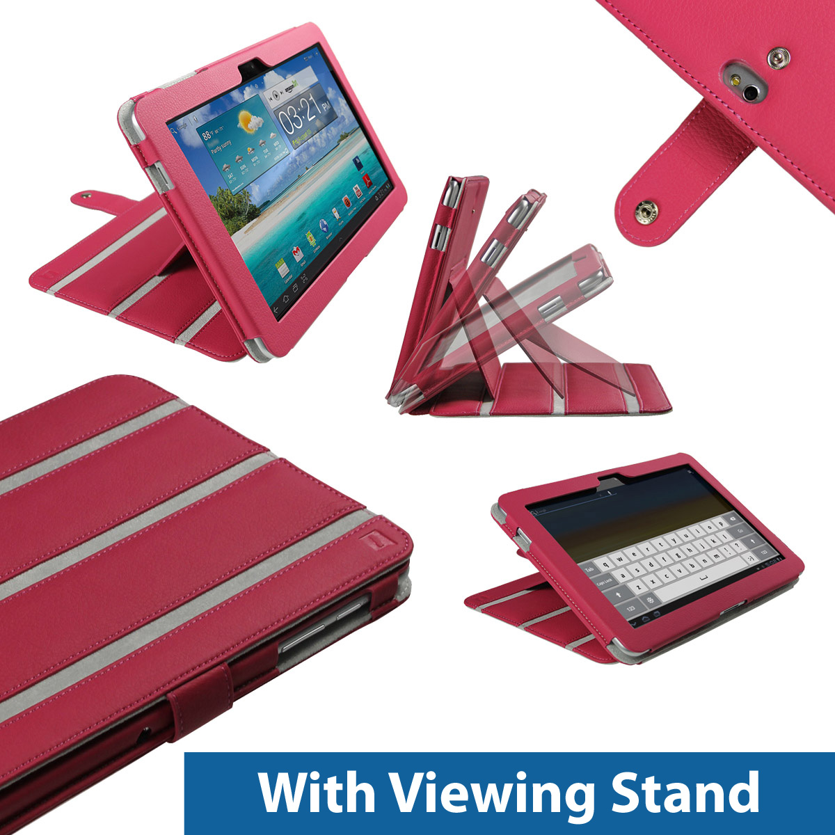 Pink PU Leather Case Cover for Samsung Galaxy Tab P7510 10.1 3G WiFi Android Enlarged Preview