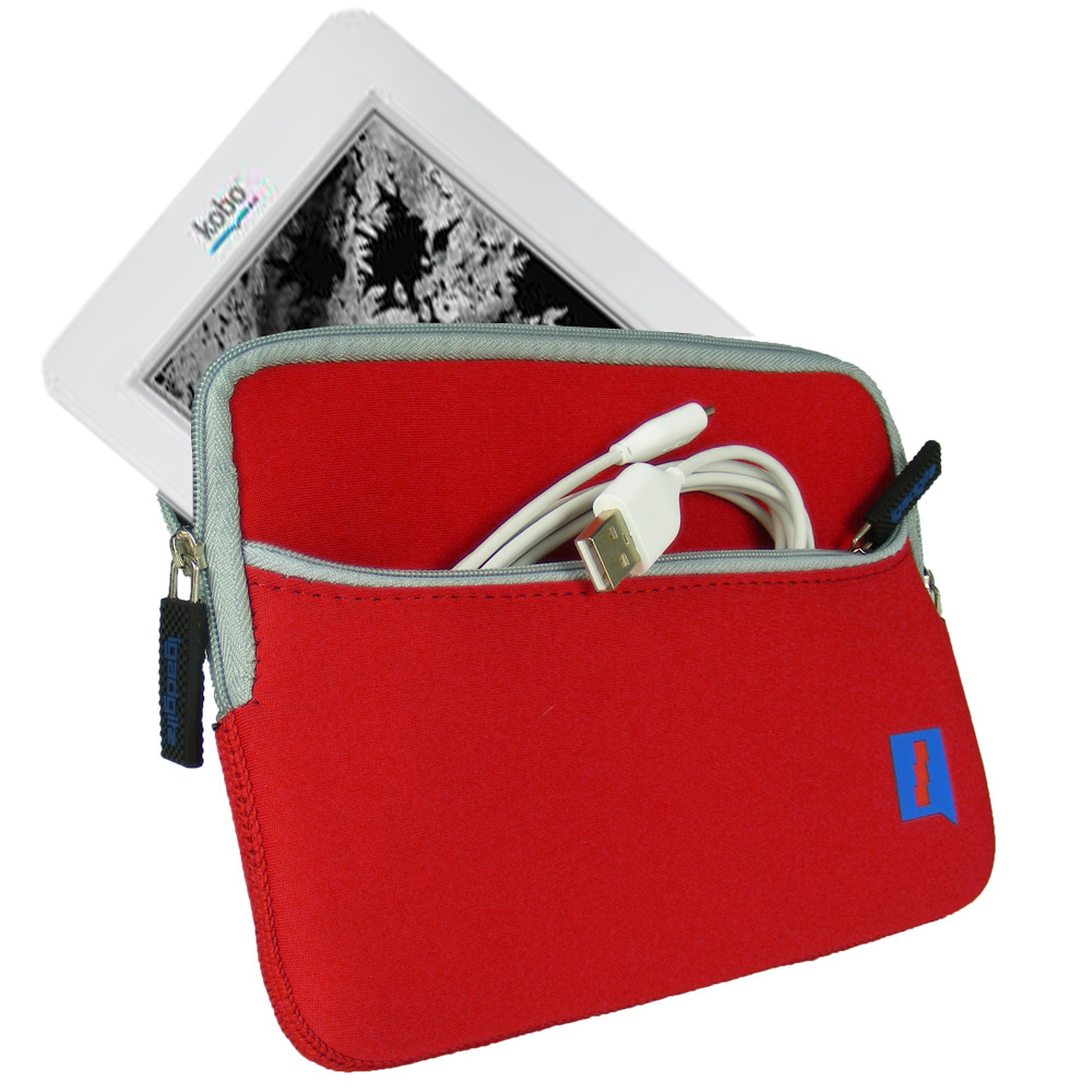 Red Neoprene Case Cover for Kobo Wireless eReader WiFi 6