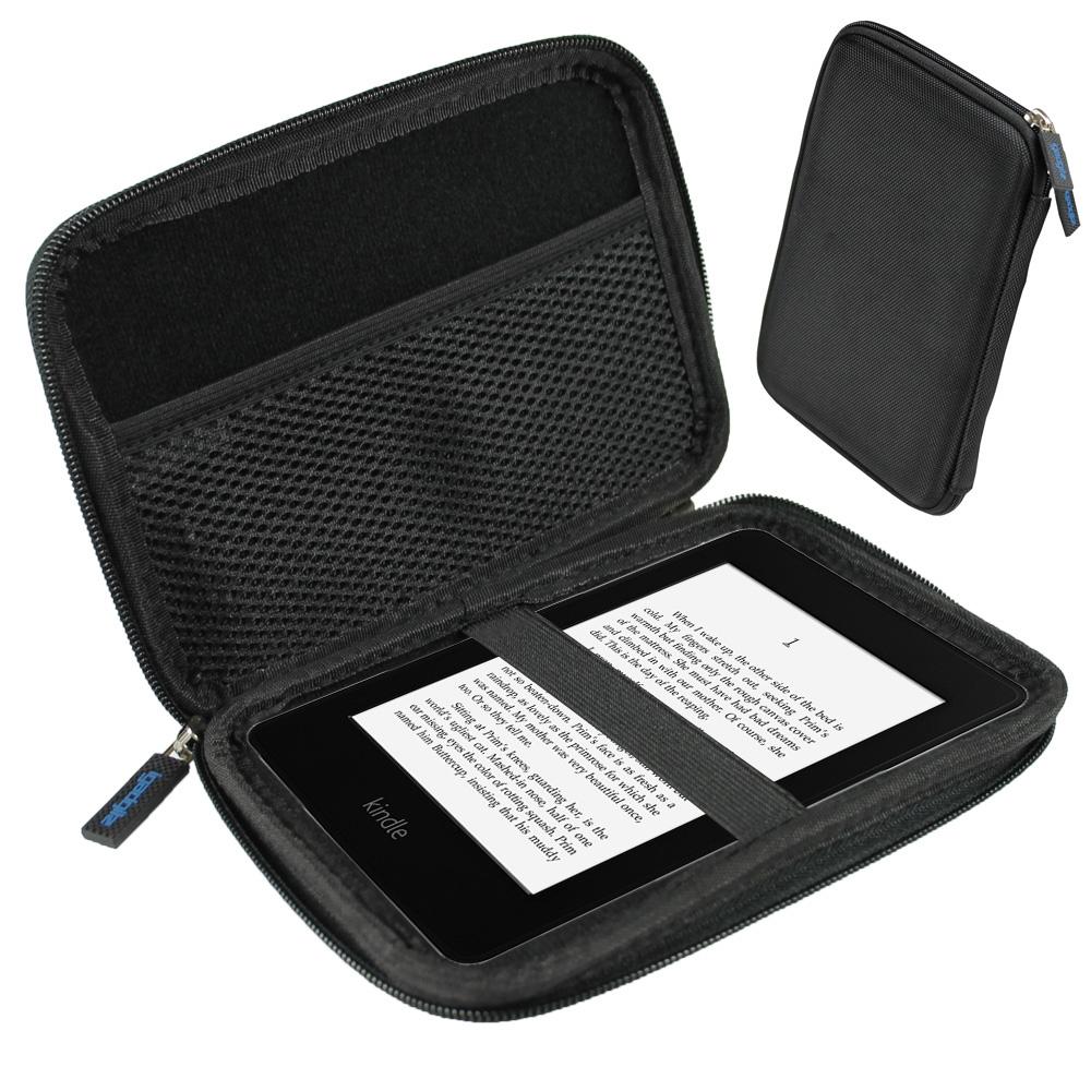 iGadgitz Black EVA Travel Hard Case Cover Sleeve for Amazon Kindle Paperwhite 2015 2014 2013 2012 & Kindle Touch