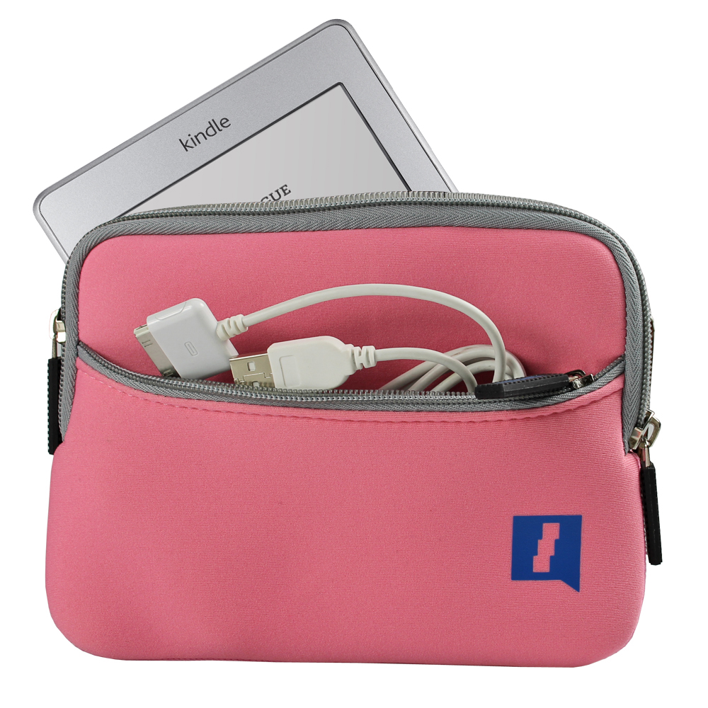 """iGadgitz Pink Neoprene Sleeve Case Cover with Front Pocket for New Amazon Kindle Touch Wi-Fi 6"""" E Ink Display Ereader 3G"""