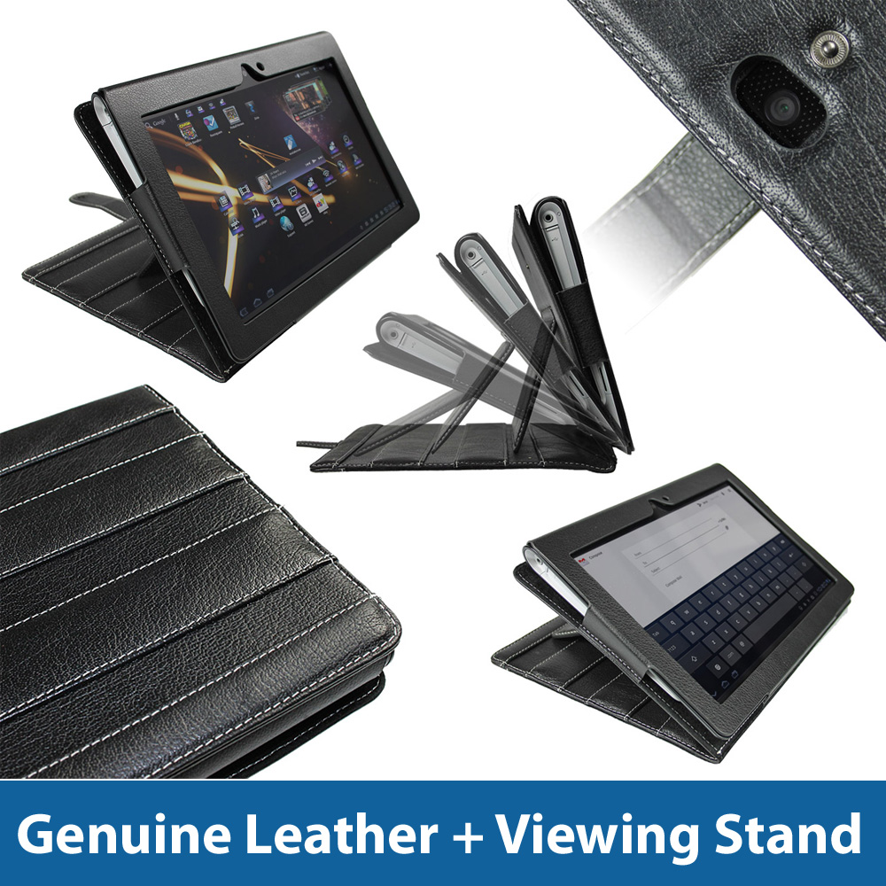 Black 'Guardian' Leather Case for Sony Tablet S Android 16GB WiFi Cover Holder Enlarged Preview