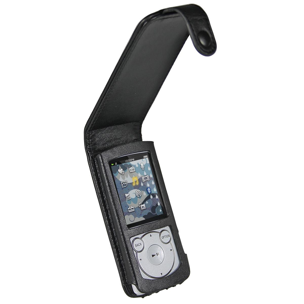 iGadgitz Black Genuine Leather Case Cover for Sony Walkman NWZ-S765 Series Video MP3 Player (NWZ-S765B, NWZ-S765W)