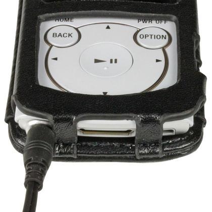 iGadgitz Black Genuine Leather Case Cover for Sony Walkman NWZ-S765 Series Video MP3 Player (NWZ-S765B, NWZ-S765W) Thumbnail 6