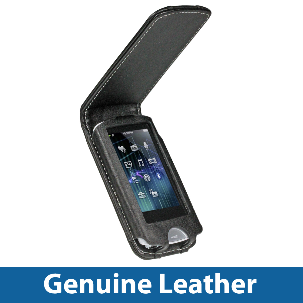 Black Leather Case Cover for Sony Walkman NWZ-A865 Series Video MP3 Player Enlarged Preview