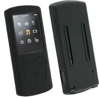 iGadgitz Black Silicone Skin Case for Sony Walkman NWZ-E463 NWZ-E464 E Series Video MP3 Player + Screen Protector