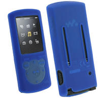 View Item iGadgitz Blue Silicone Skin Case Cover Holder for Sony Walkman NWZ-E463 NWZ-E464 E Series Video 4gb 8gb MP3 Player + Screen Protector