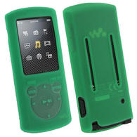 View Item iGadgitz Green Silicone Skin Case Cover Holder for Sony Walkman NWZ-E463 NWZ-E464 E Series Video 4gb 8gb MP3 Player + Screen Protector