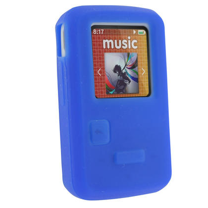 iGadgitz Blue Silicone Skin Case Cover for SanDisk Sansa Clip Zip 4GB 8GB MP3 Player (Released Aug 2011) Thumbnail 1