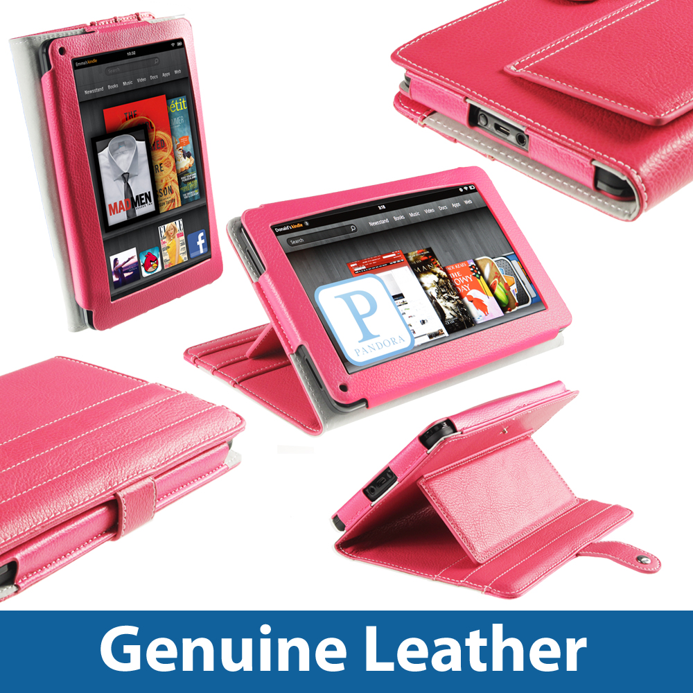 Pink Leather Case for Amazon Kindle Fire 7 Inch 8GB Wi-fi Android Tablet Cover  Enlarged Preview
