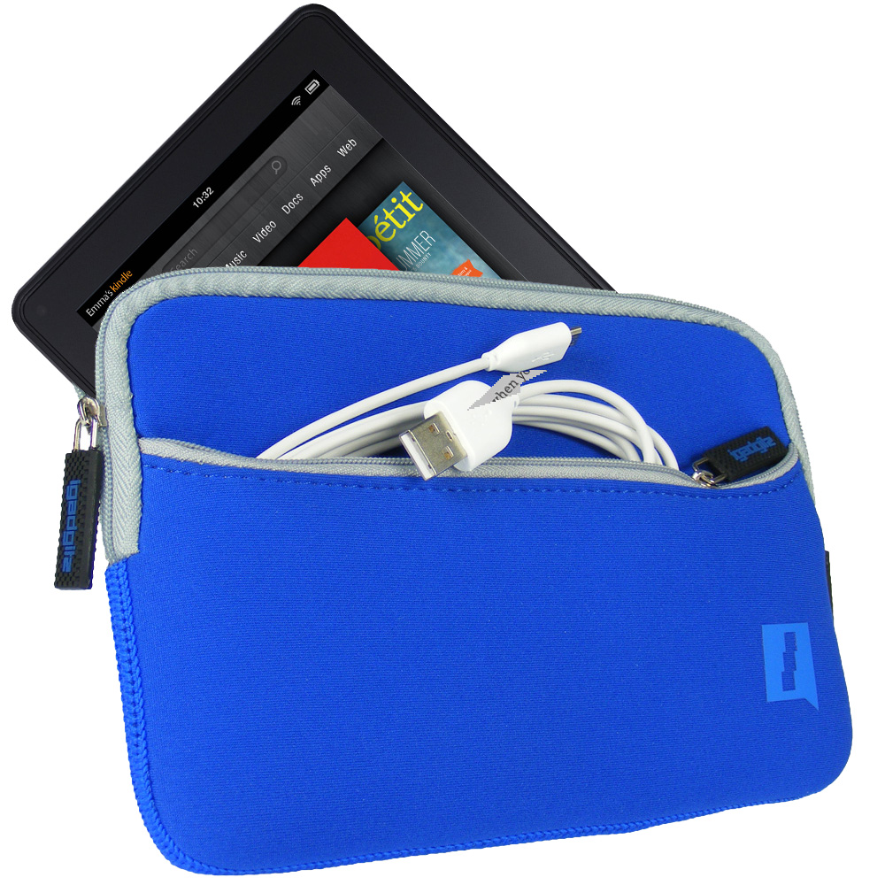 Blue Neoprene Case Cover for Amazon Kindle Fire Wi-Fi 7