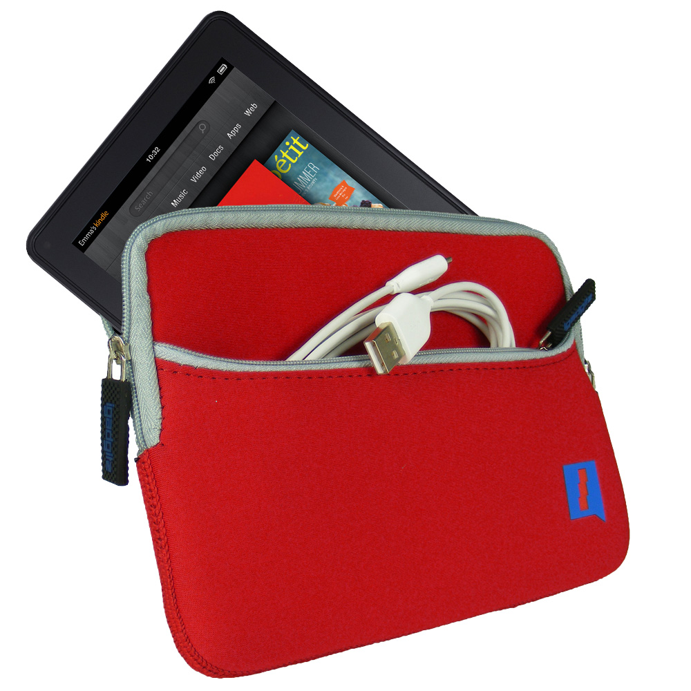 Red Neoprene Case Cover for Amazon Kindle Fire Wi-Fi 7