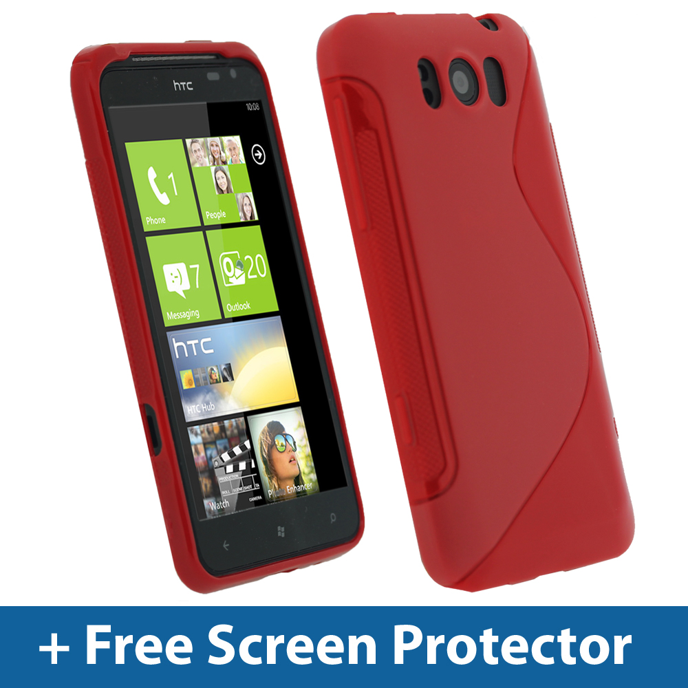red dual tone tpu gel case for htc titan windows cover