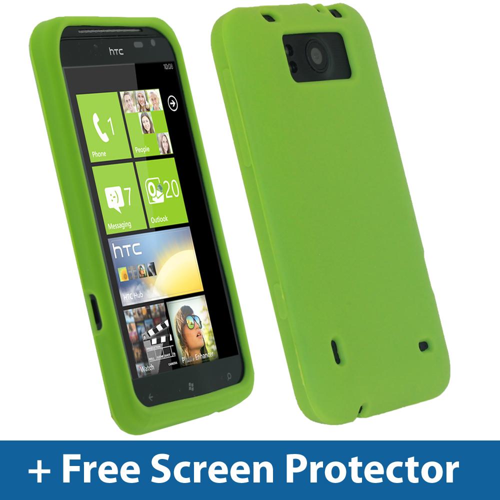 Green Silicone Skin Case For HTC Titan Windows Smartphone