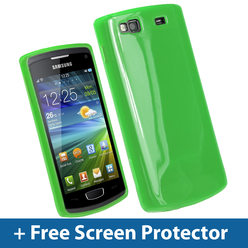 Green Glossy TPU Gel Case for Samsung Wave 3 Bada S8600 GT-8600 Skin Cover Enlarged Preview