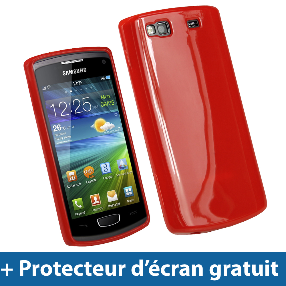 Rouge tui housse brillant tpu pour samsung wave 3 s8600 for Housse samsung wave