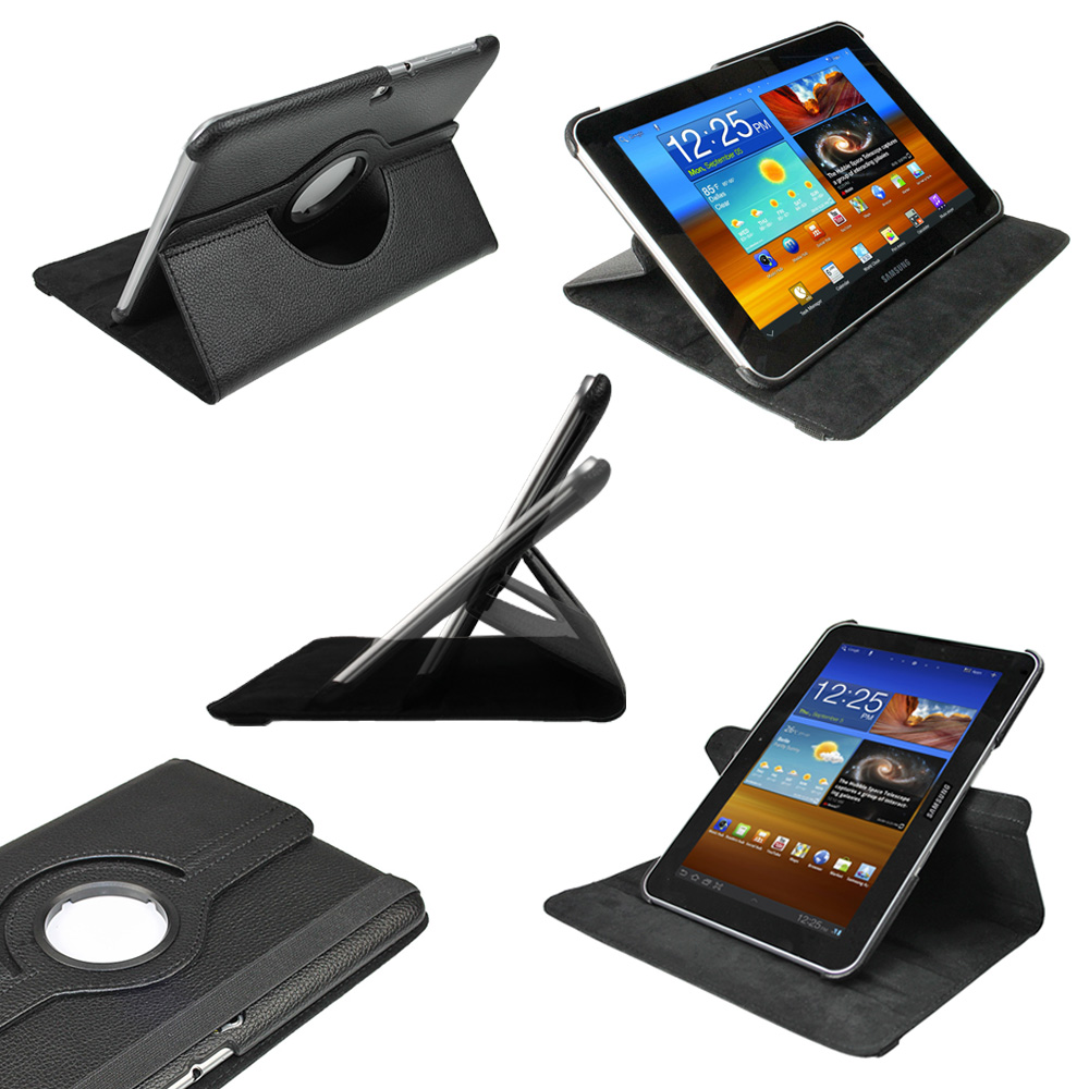 Black PU 360° Leather Case for Samsung Galaxy Tab 8.9